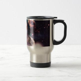 waterfall cat - cat fountain - space cat travel mug