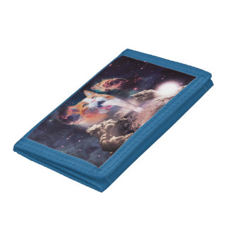waterfall cat - cat fountain - space cat tri-fold wallet