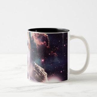 waterfall cat - cat fountain - space cat Two-Tone coffee mug