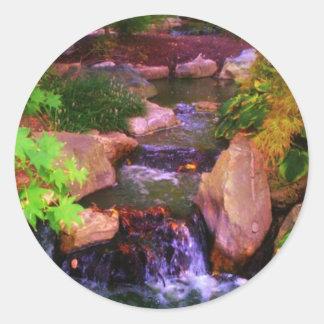 Waterfall Classic Round Sticker
