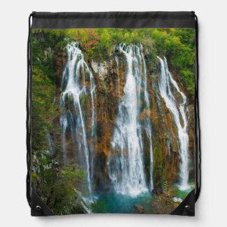 Waterfall elevated view, Croatia Drawstring Bag