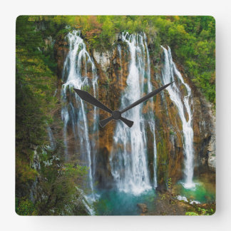 Waterfall elevated view, Croatia Square Wall Clock