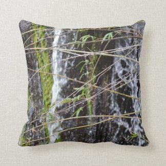 waterfall green moss twigs plant background cushion