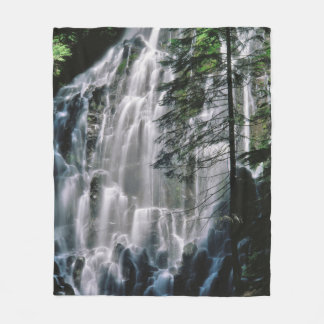 Waterfall in forest, Oregon Fleece Blanket