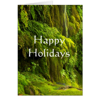 Waterfall in green  happy holidays card