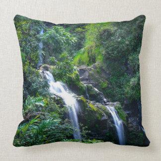 Waterfall in Maui Hawaii Cushion