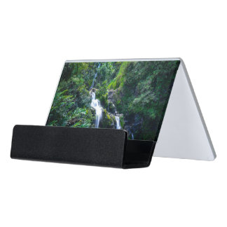Waterfall in Maui Hawaii Desk Business Card Holder