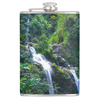 Waterfall in Maui Hawaii Flask