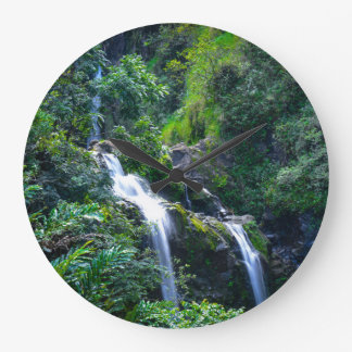 Waterfall in Maui Hawaii Large Clock
