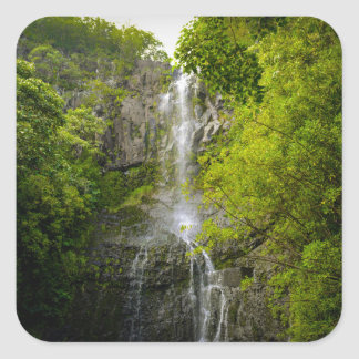 Waterfall in Maui Hawaii Square Sticker