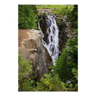 Waterfall in Mount Rainier National Park Poster