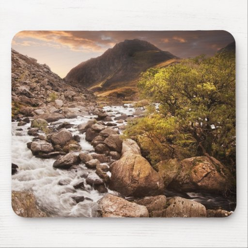 Waterfall In Mountains With Moody Dramatic Mousepad