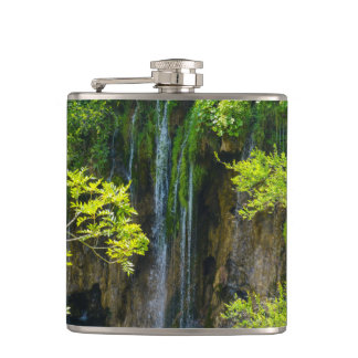 Waterfall in Plitvice National Park in Croatia Flask