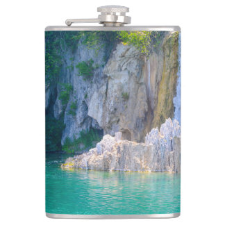 Waterfall in Plitvice National Park in Croatia Hip Flask