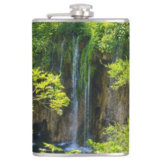 Waterfall in Plitvice National Park in Croatia Hip Flask