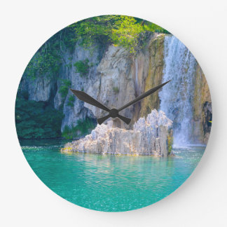 Waterfall in Plitvice National Park in Croatia Large Clock