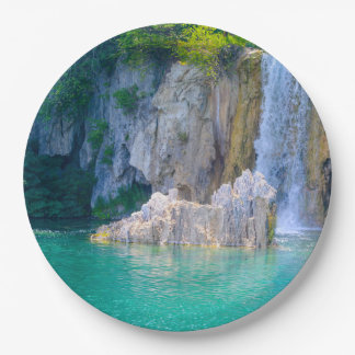 Waterfall in Plitvice National Park in Croatia Paper Plate