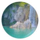 Waterfall in Plitvice National Park in Croatia Plate