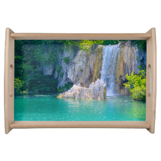 Waterfall in Plitvice National Park in Croatia Serving Tray