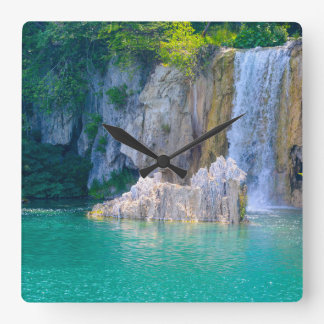 Waterfall in Plitvice National Park in Croatia Square Wall Clock