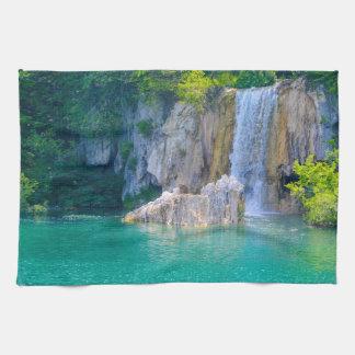 Waterfall in Plitvice National Park in Croatia Tea Towel