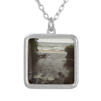 Waterfall in the beach silver plated necklace