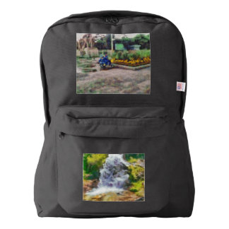 Waterfall in the wild backpack