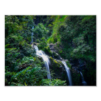Waterfall in Tropical Maui Hawaii Poster