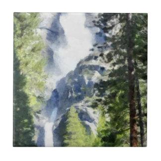 Waterfall in Yosemite Tile