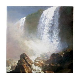 Waterfall Nature painting Small Square Tile