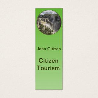 Waterfall on green gradient mini business card