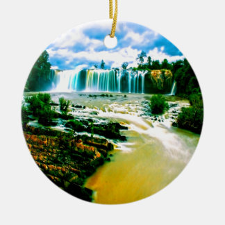 waterfall peace joy and motion round ceramic decoration