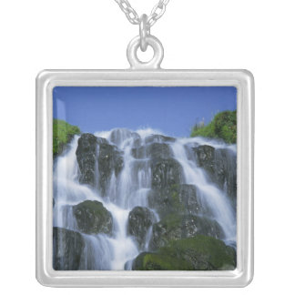 Waterfall, Portree, Isle of Skye, Highlands, Square Pendant Necklace