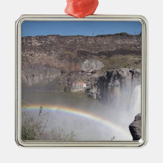 Waterfall Rainbow Silver-Colored Square Decoration
