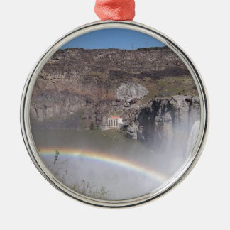 Waterfall Rainbow Silver-Colored Round Decoration