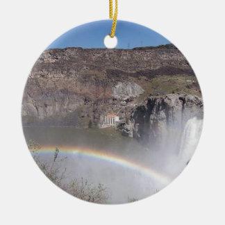 Waterfall Rainbow Round Ceramic Decoration