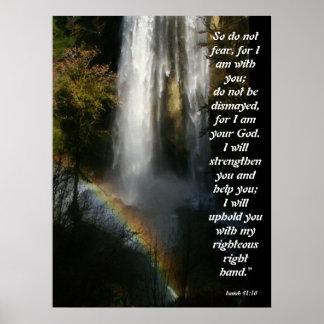 Waterfall & Rainbow Isaiah 41:10 Poster