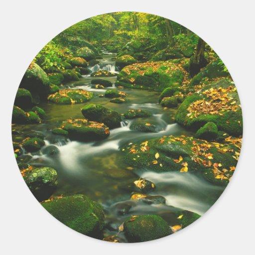 Waterfall Roaring Fork Smoky Mountian Round Sticker