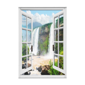 Waterfall View Trompe L'oeil Fake Window Canvas Print
