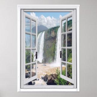 Waterfall View Trompe l'oeil Faux Window Poster
