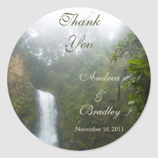 Waterfall Wedding Personalized Favor Round Sticker