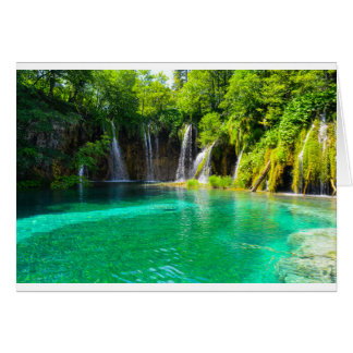 Waterfalls at Plitvice National Park in Croatia Card