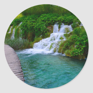 Waterfalls at Plitvice National Park in Croatia Classic Round Sticker