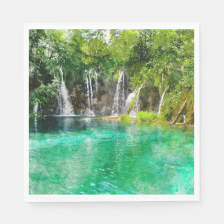 Waterfalls at Plitvice National Park in Croatia Disposable Serviette