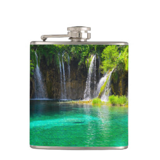 Waterfalls at Plitvice National Park in Croatia Hip Flask