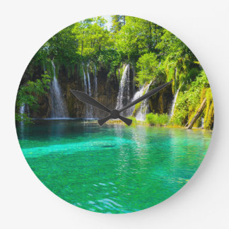 Waterfalls at Plitvice National Park in Croatia Large Clock