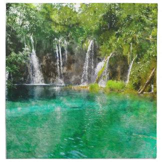 Waterfalls at Plitvice National Park in Croatia Napkin