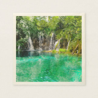 Waterfalls at Plitvice National Park in Croatia Paper Napkins