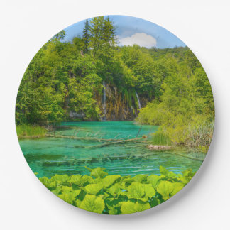 Waterfalls at Plitvice National Park in Croatia Paper Plate