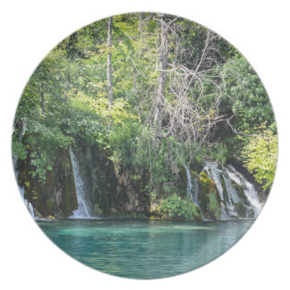 Waterfalls at Plitvice National Park in Croatia Plate